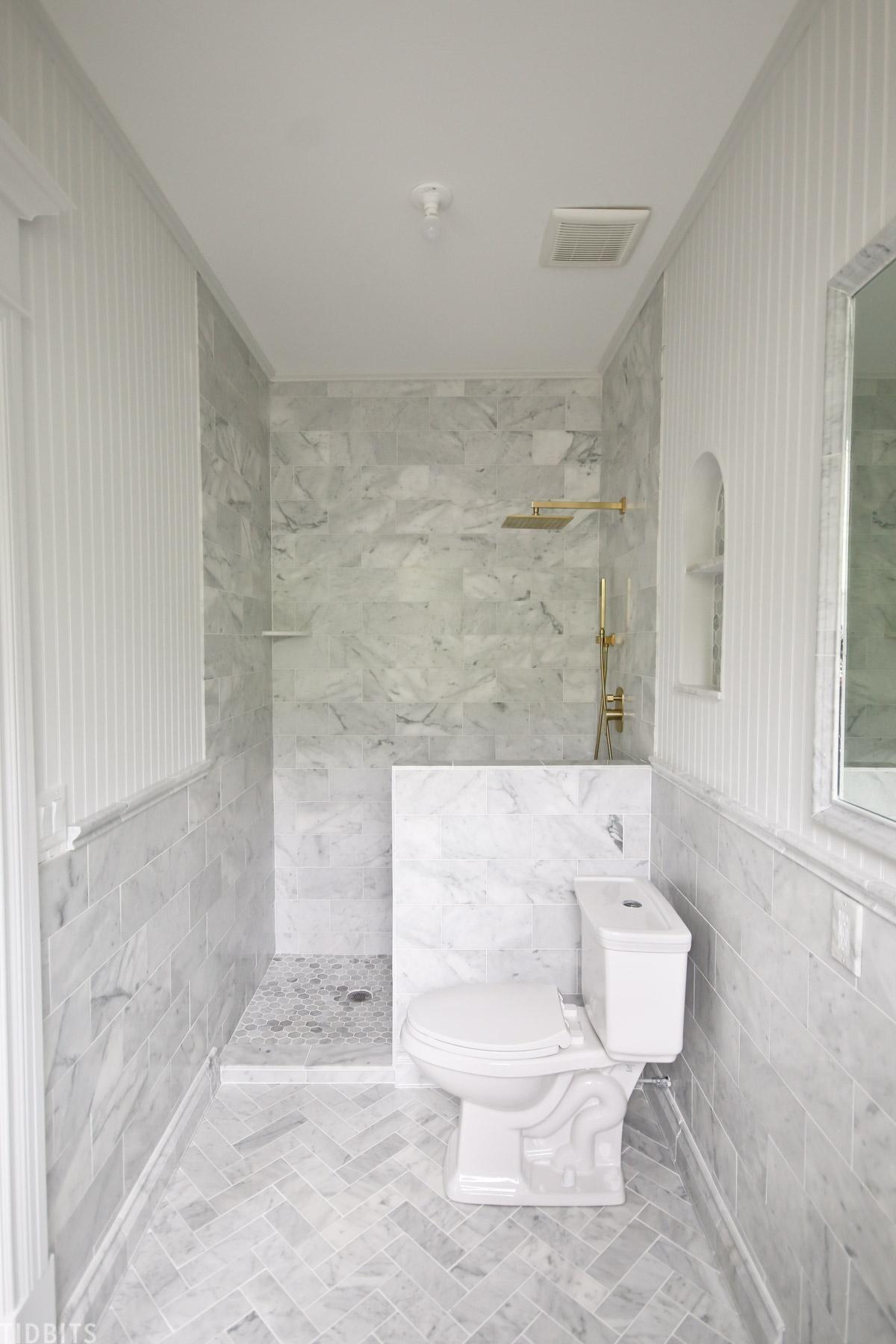 Installing marble tile in bathroom