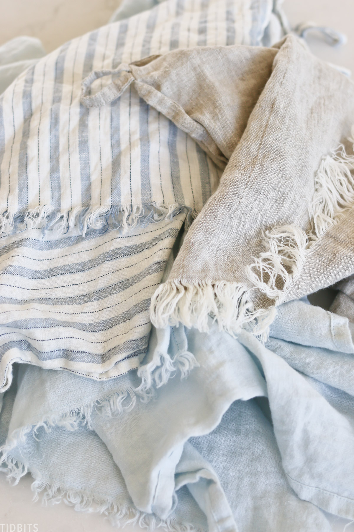frayed linen tea towels