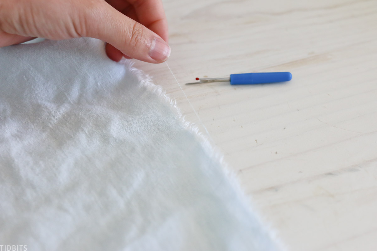 fraying linen fabric