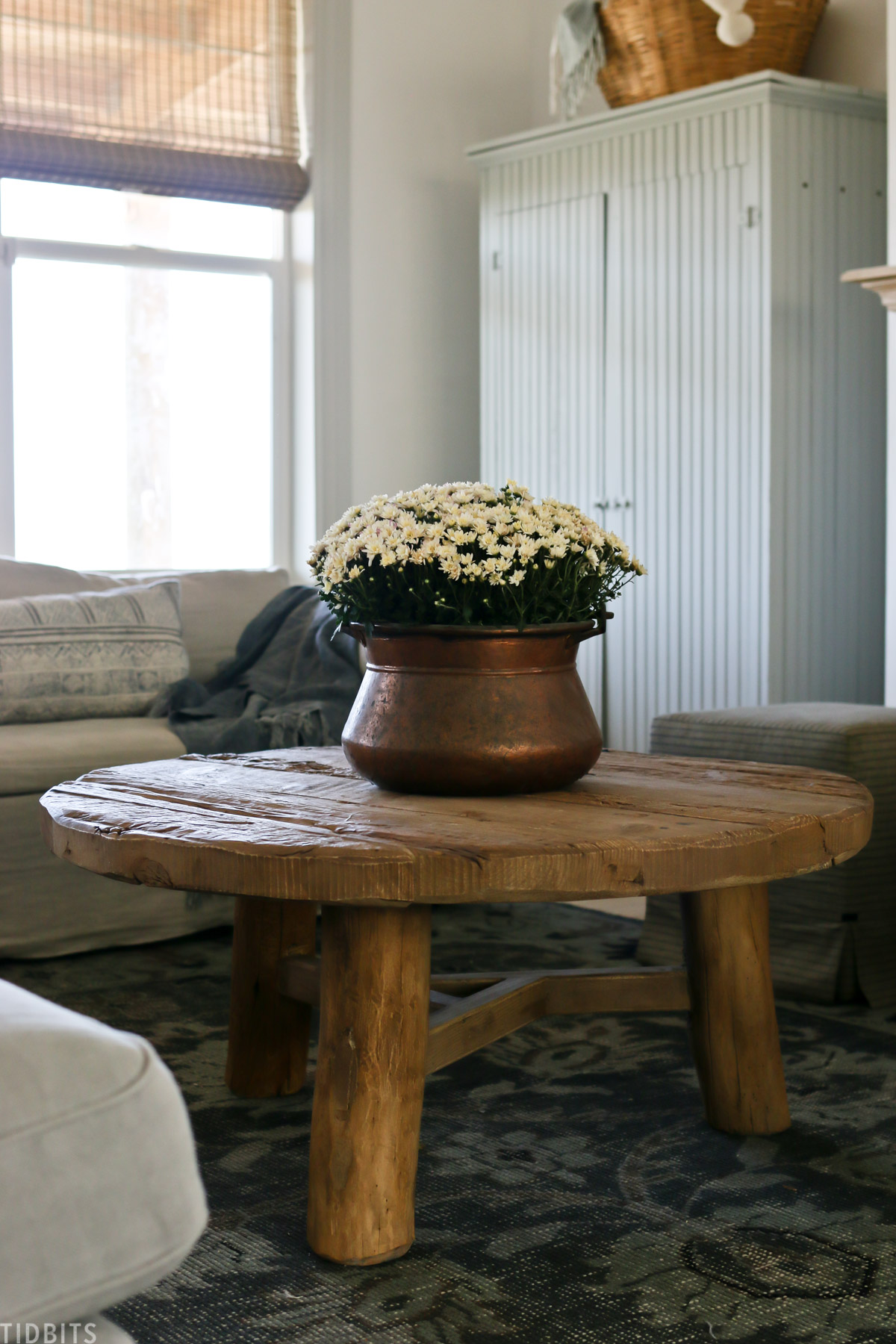 mums placed in copper pot being used as a centerpiece on a coffee table
