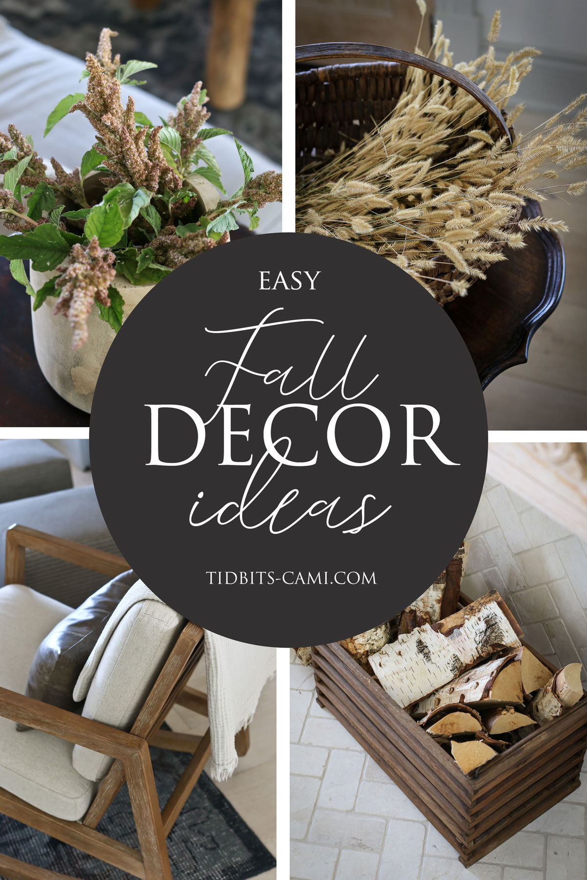collage of photos showing fall decor pieces for living room