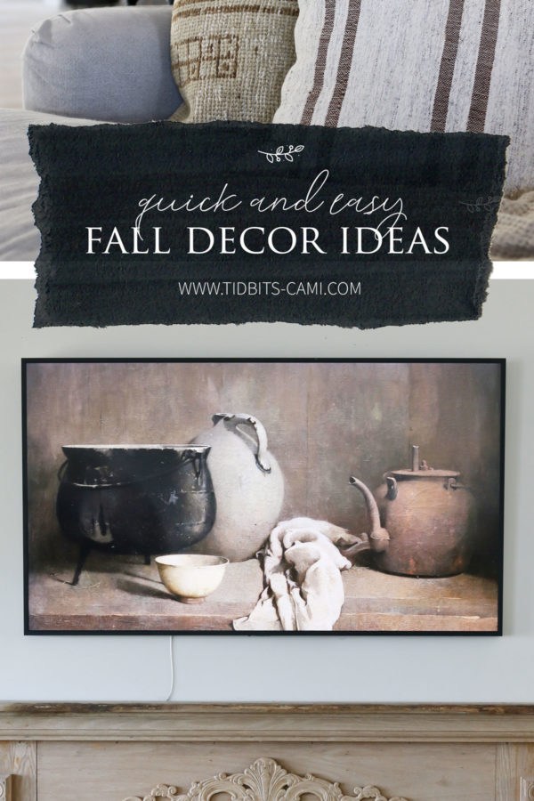 collage showing pillows and a painting for fall inspiration