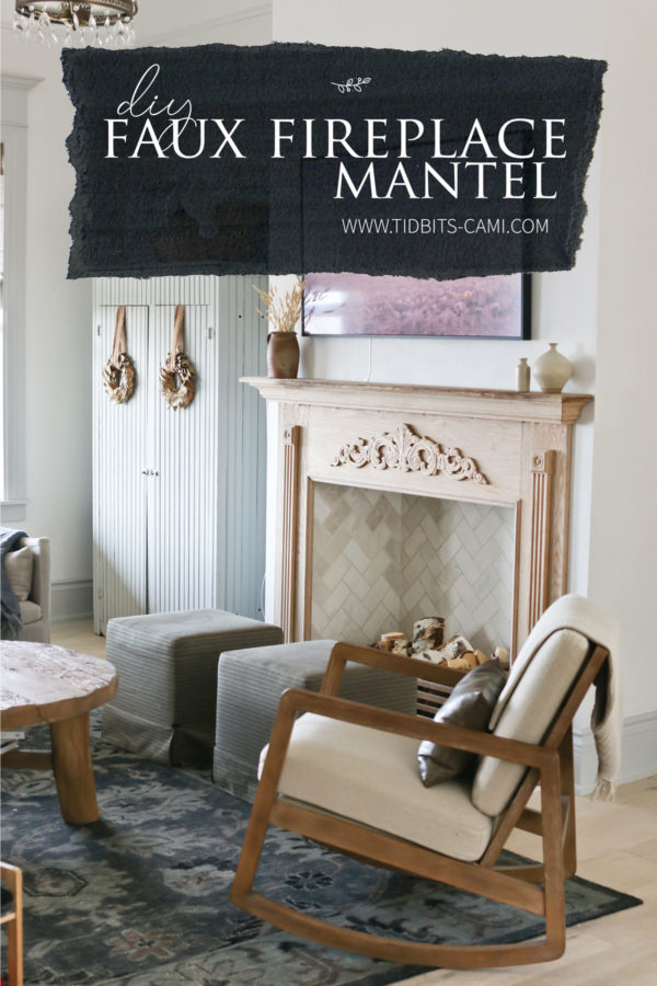 living room furniture in front of faux fireplace with text overlay for Pinterest