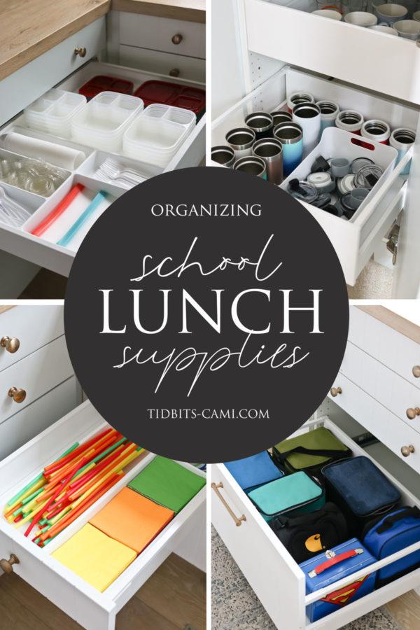 ideas for organizing school lunch supplies
