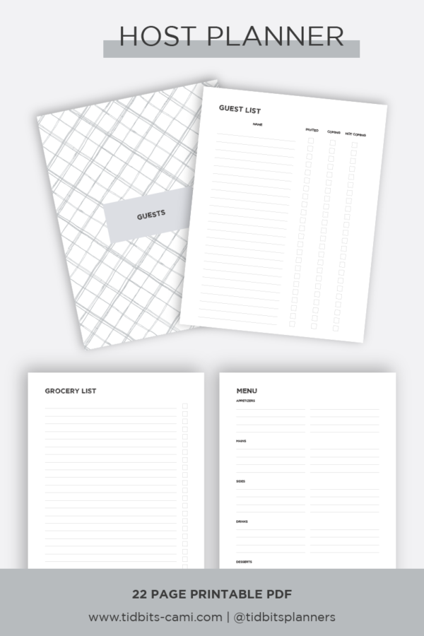 four sample pages of the Host Planner