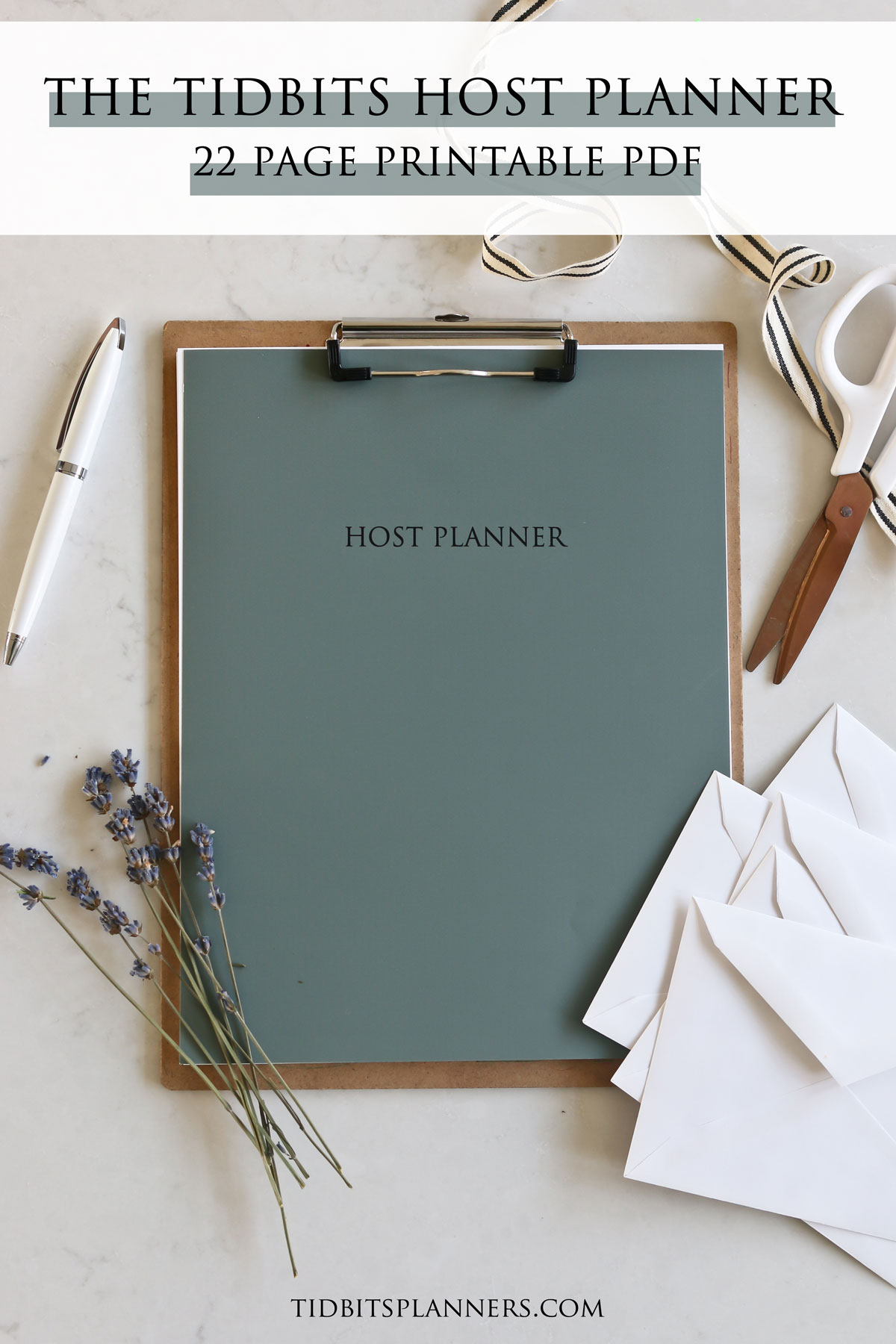 pages of the Host Planner attached to a clipboard