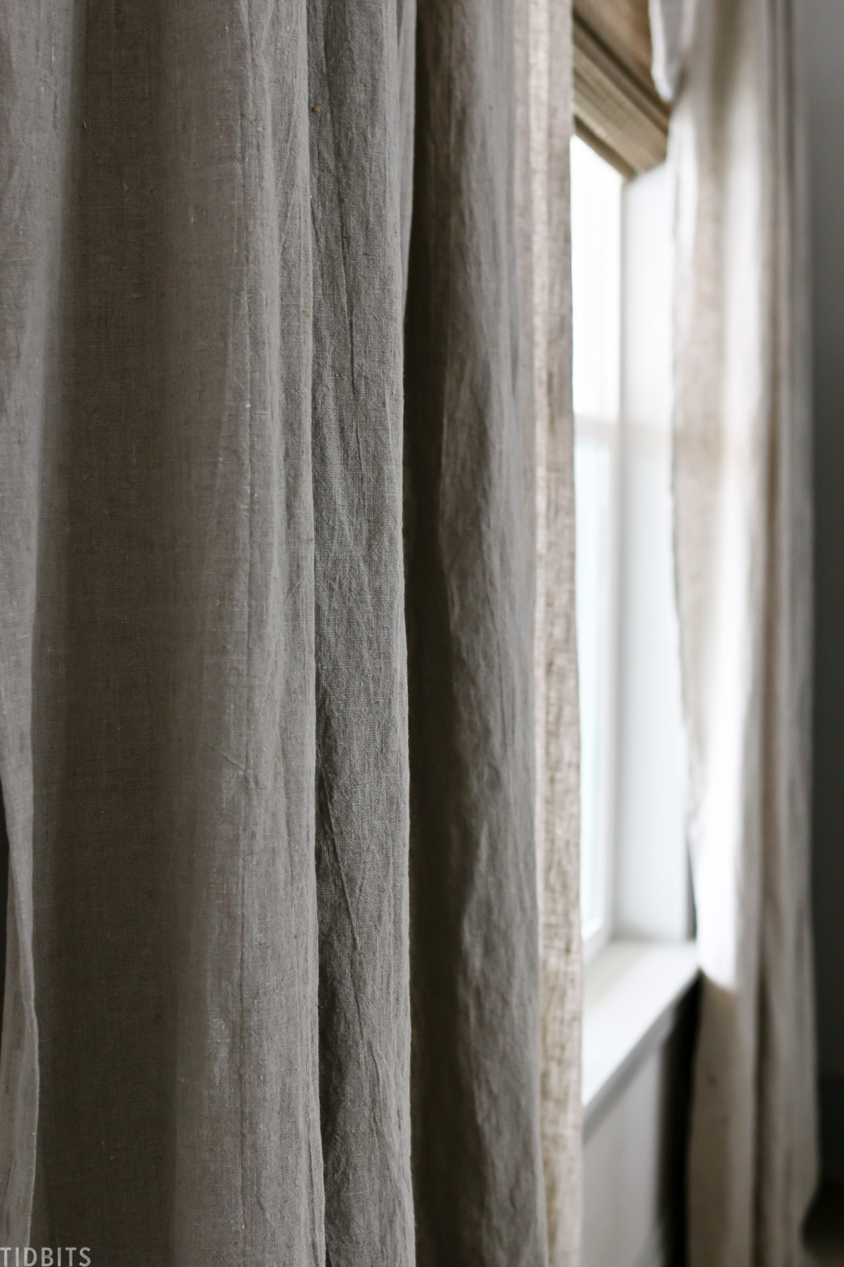 up close details on the DIY pleated curtains