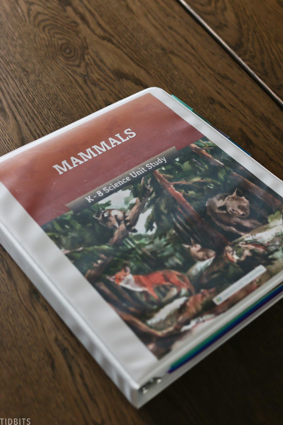 "binder for homeschooling labeled ""mammals"""