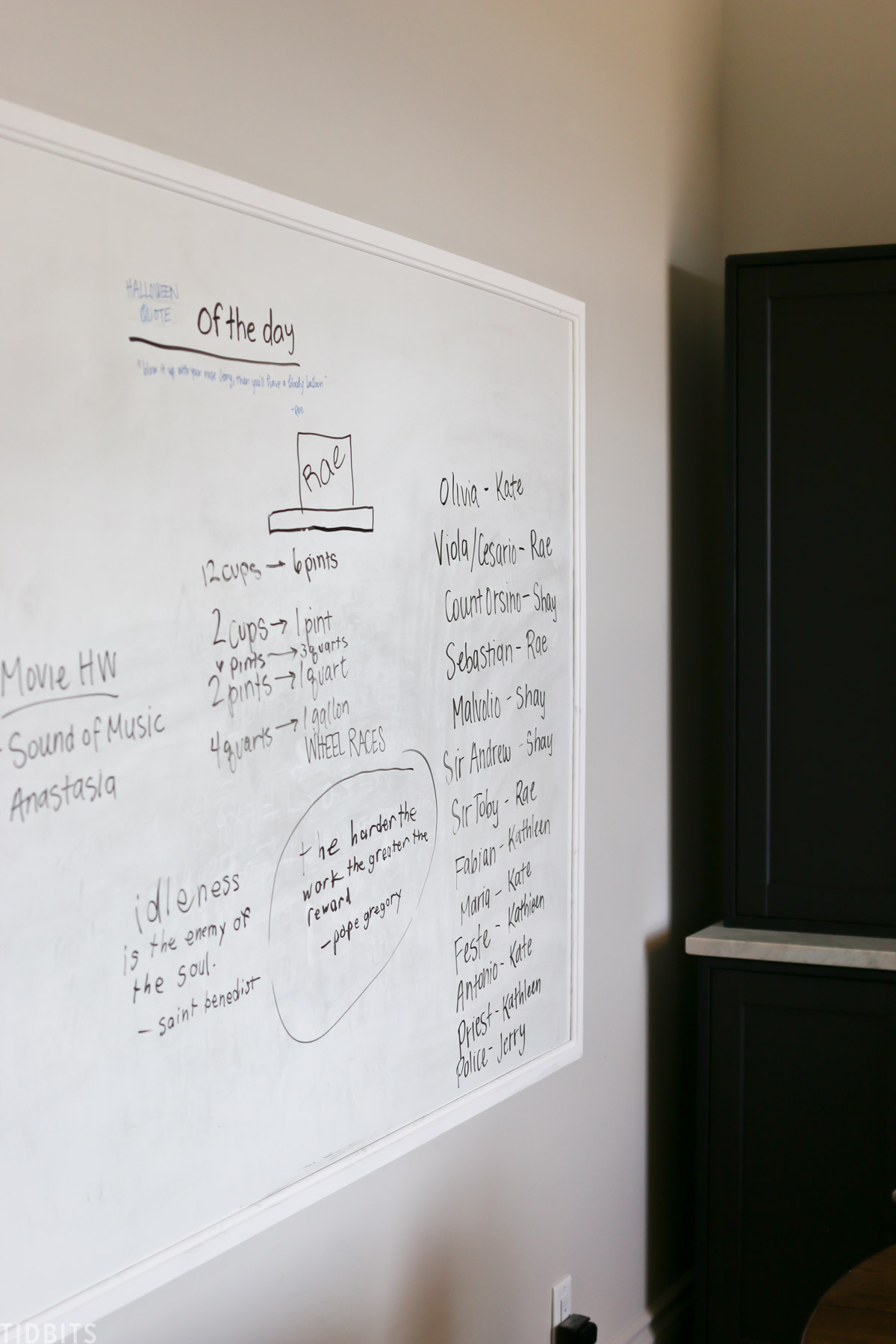 whiteboard with notes for homeschooling