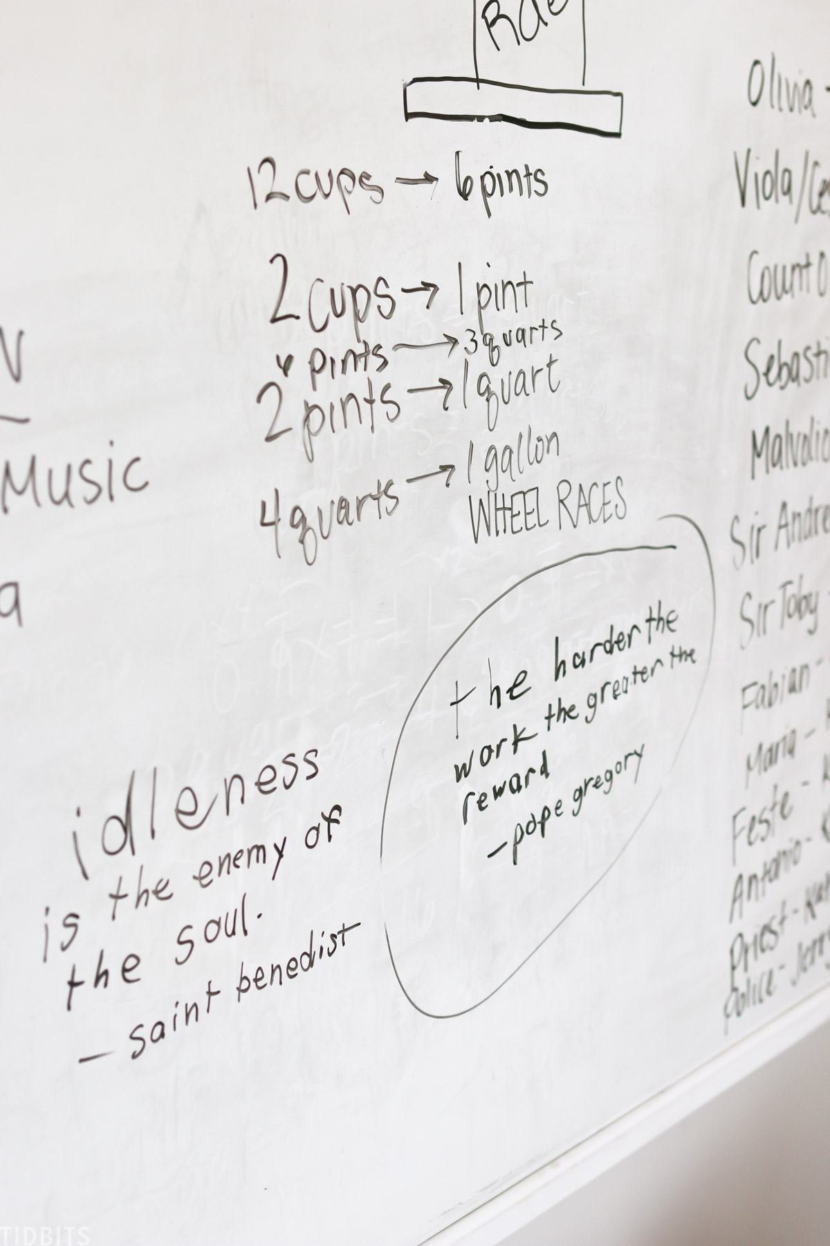 whiteboard with notes for various measuring units like cups, pints, and quarts