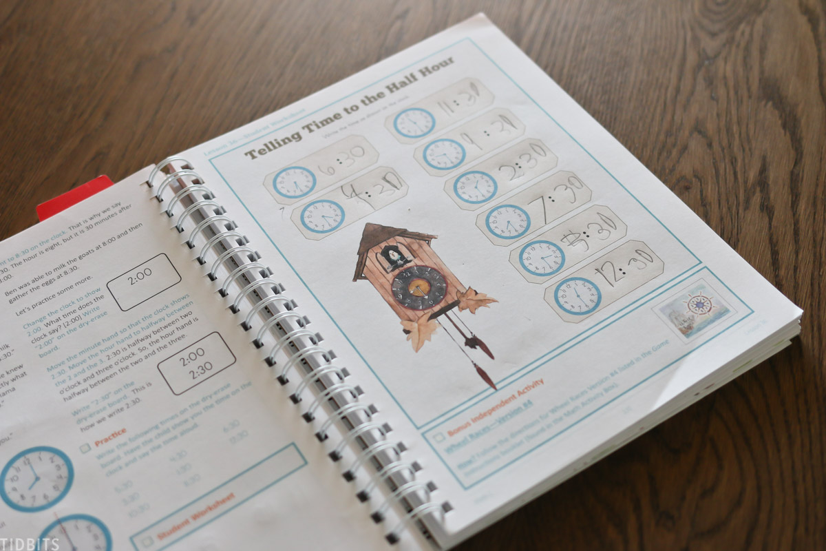 page of workbook showing an assignment teaching students how to tell time