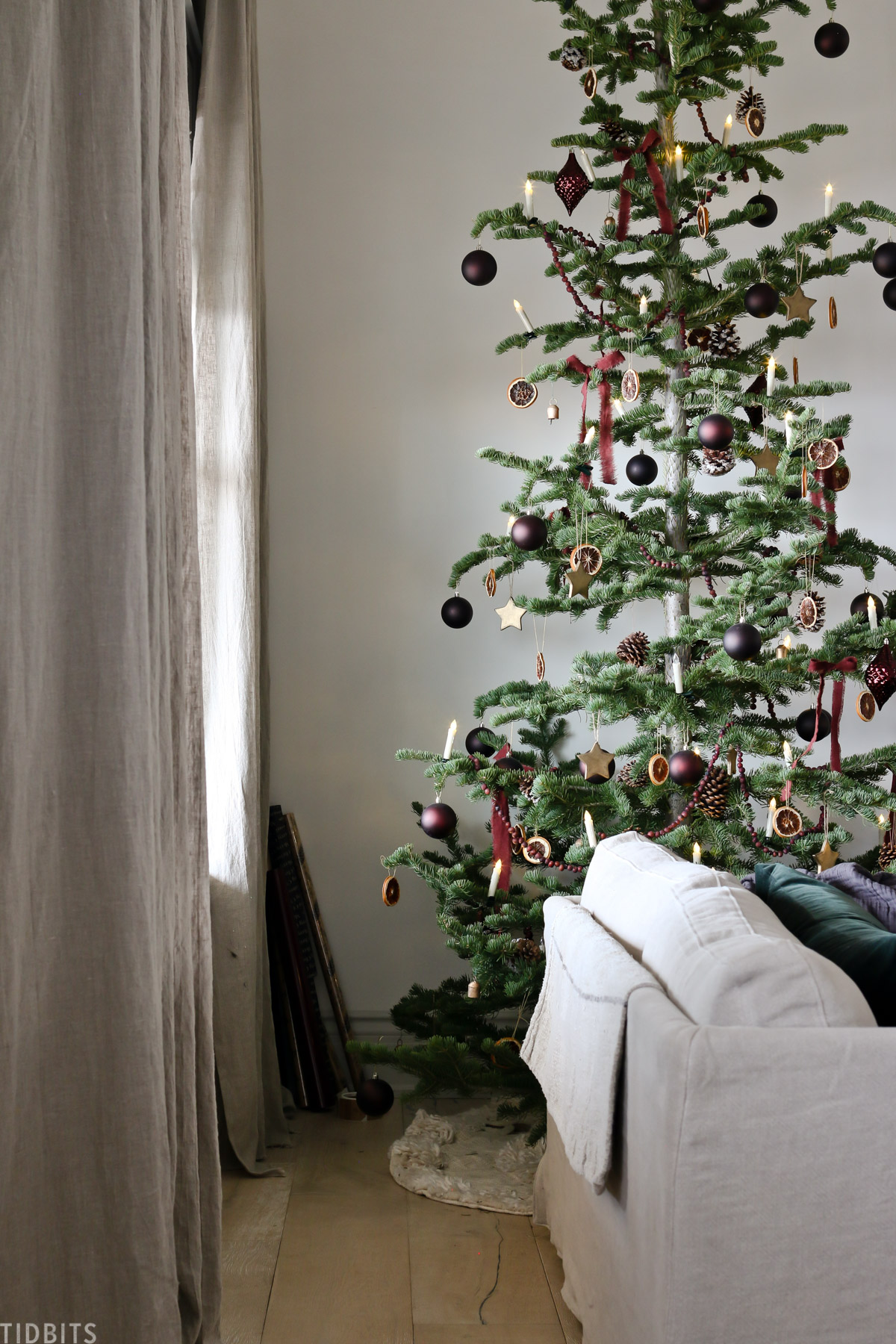 European old world style Christmas tree in living room