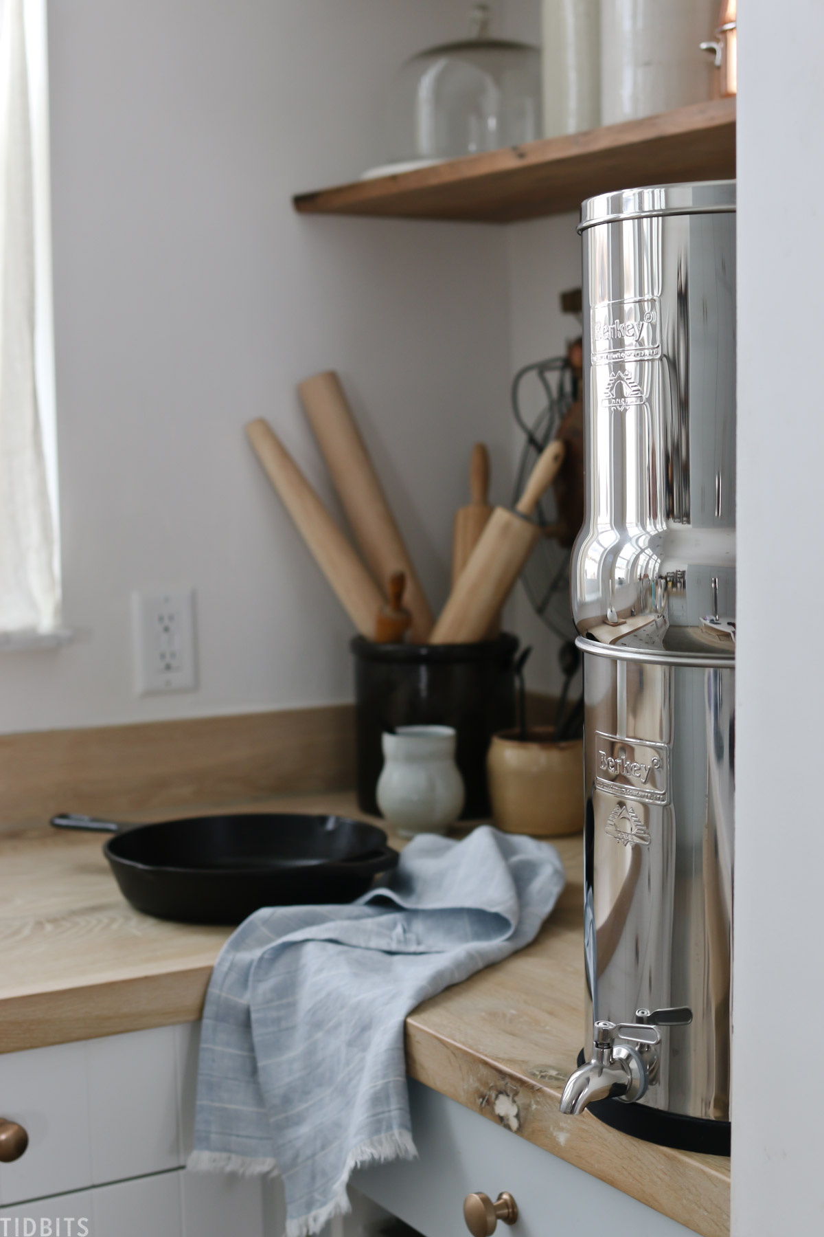 water filter on kitchen countertop