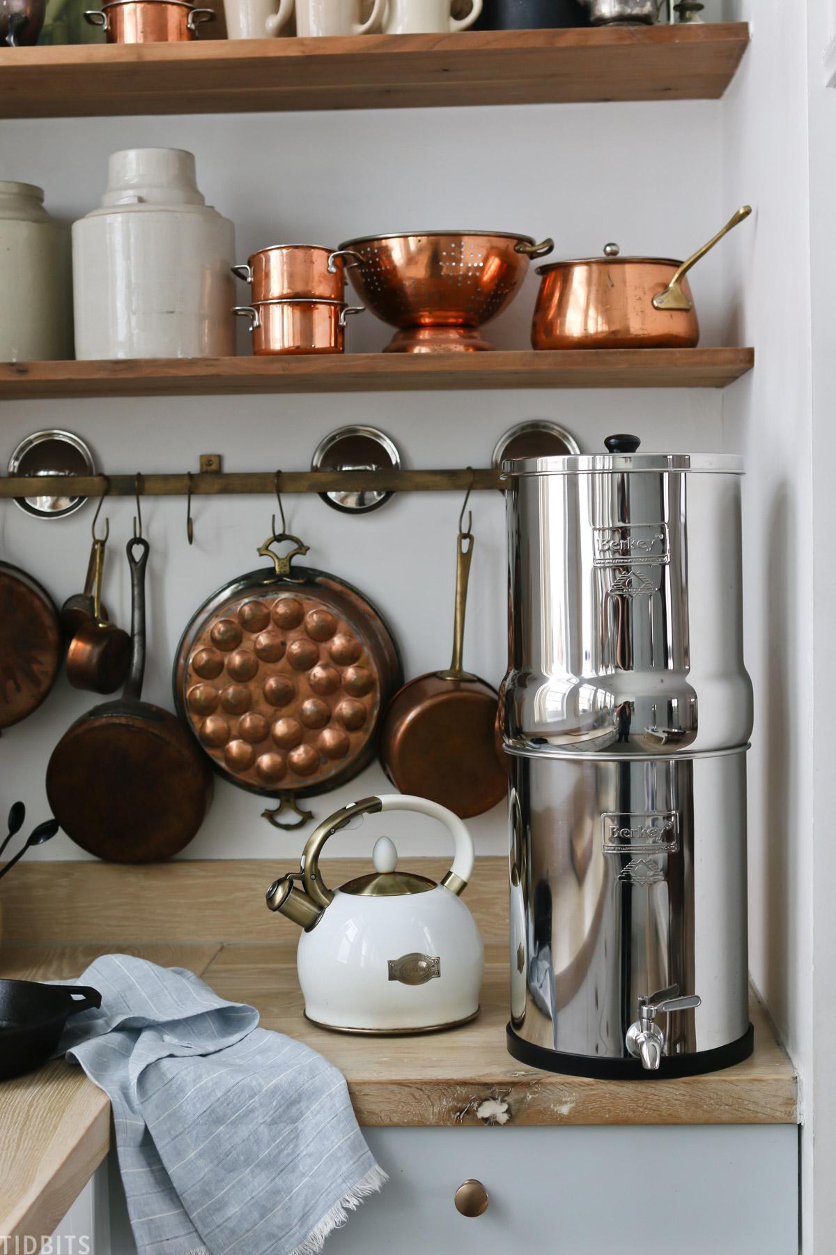 water filter on kitchen countertop next to tea pot