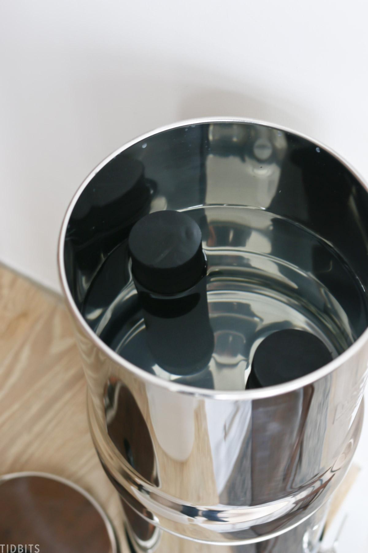 water inside of a Berkey water filter