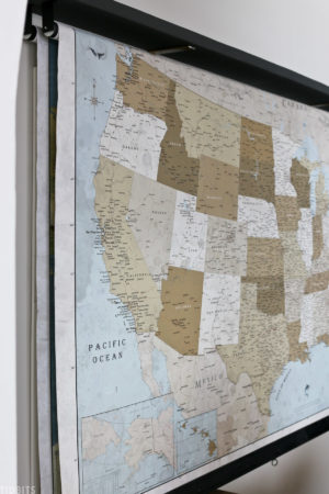 United States map hanging on wall