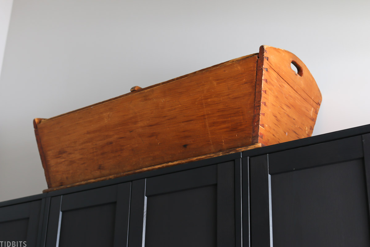 dough trough placed above havsta cabinets