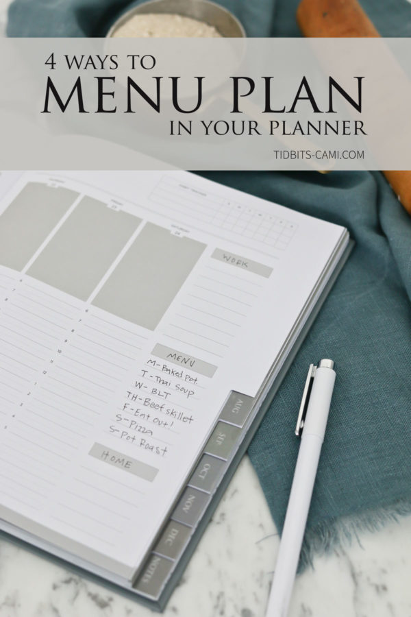 menu planning with a planner