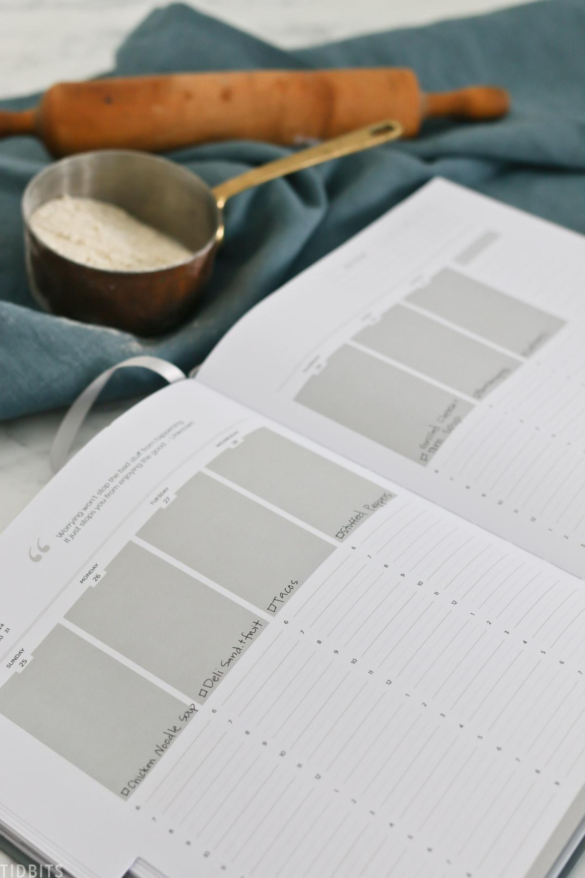 menu planning inside your planner