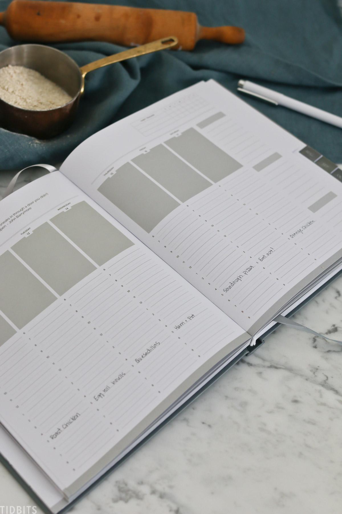 dinner time menu planning inside your planner