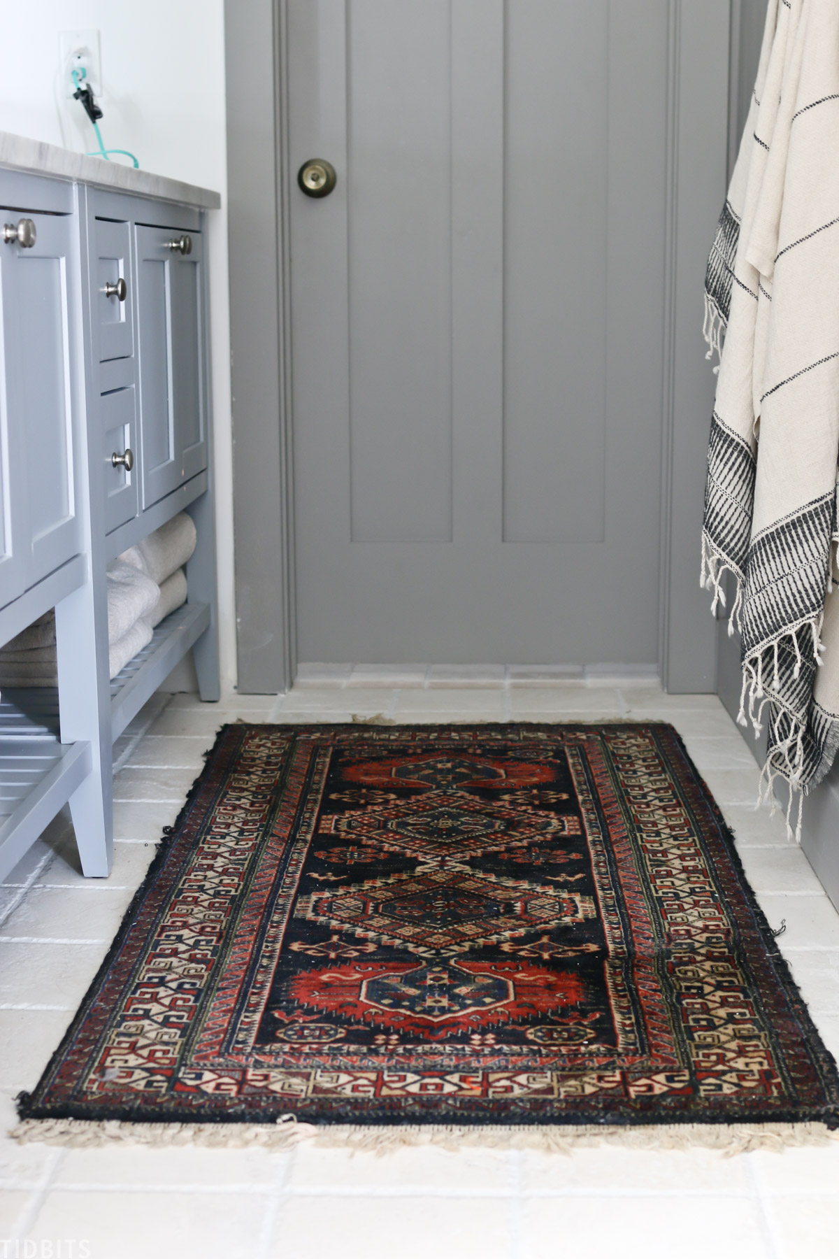 wool runner rug with gray door
