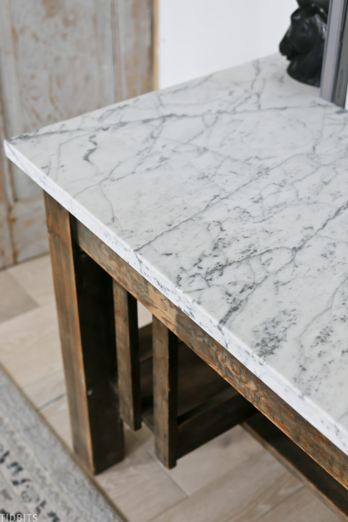 marble remnant slab that was installed on top of an antique desk