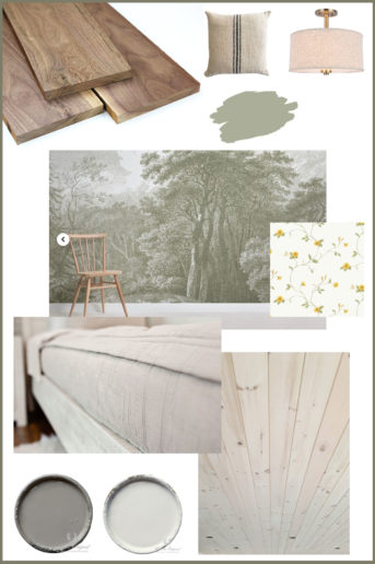 mood board for nature inspired bedroom including flooring, walls, paint, and lighting