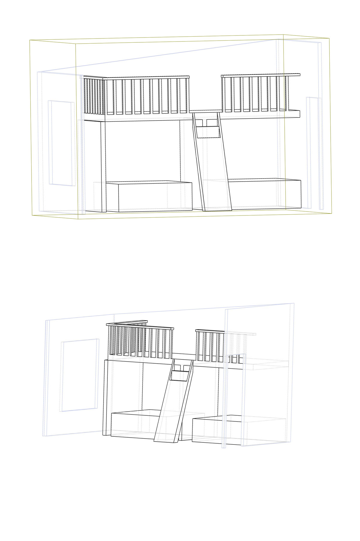 sketch of play loft set up vertically above two beds