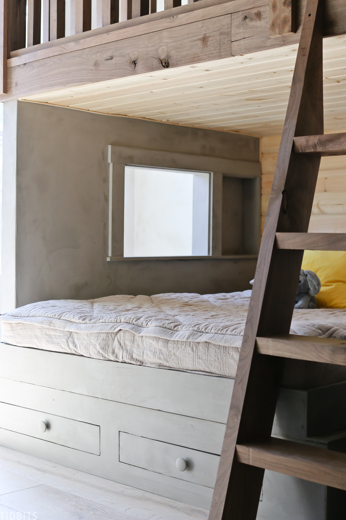 custom built bed frame is painted with Marrakech paint by Pure & Original Paint