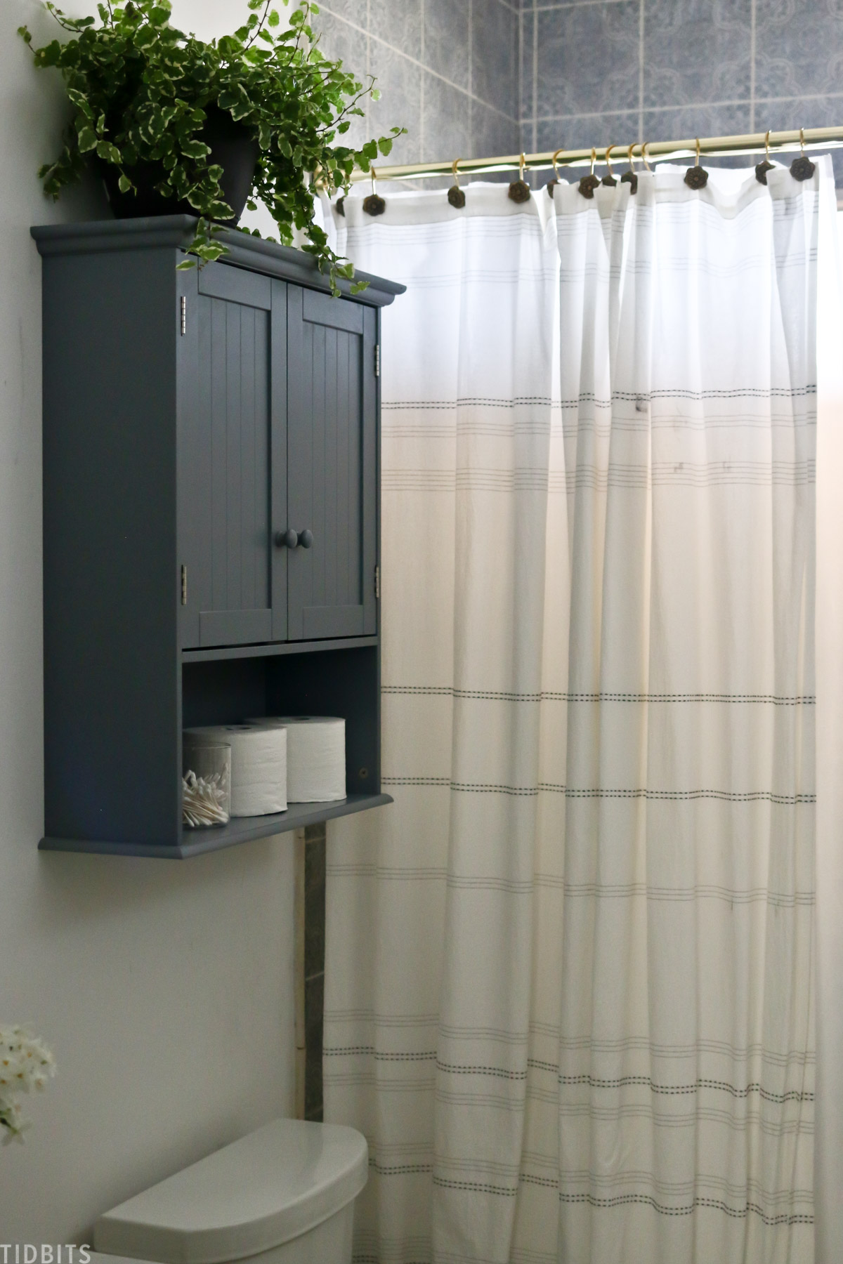 medicine cabinet that's painted bluish gray is hanging above toilet