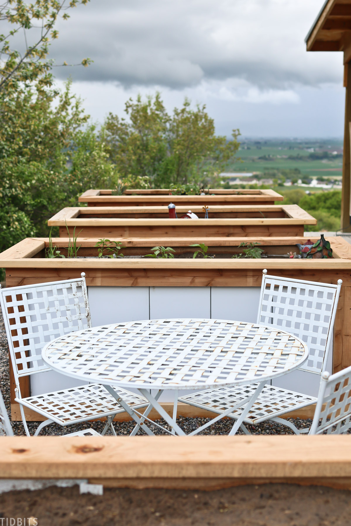 outdoor table and chairs in front of three raised garden beds
