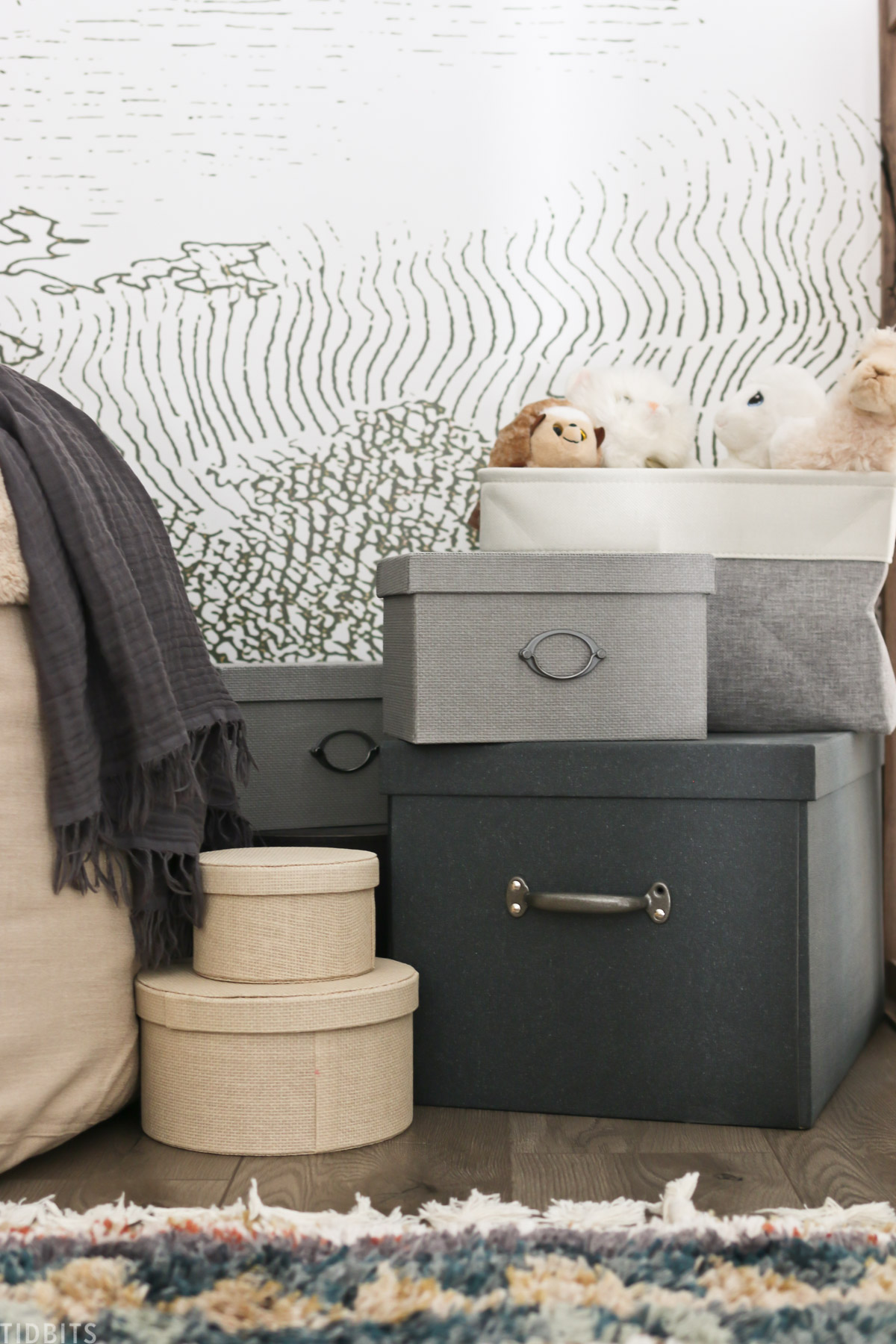 decorative storage baskets placed on the floor