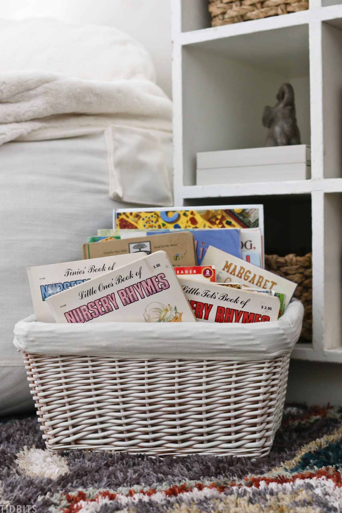 wicker basket filled with children's books