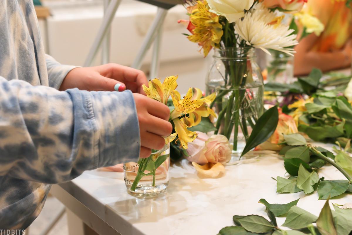 teaching kids to arrange flowers birthday party activity